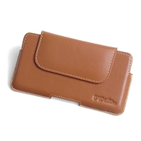 Luxury Leather Holster Pouch Case for Motorola One Vision (Brown)