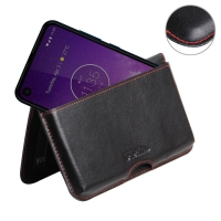 Leather Wallet Pouch for Motorola One Vision (Red Stitch)