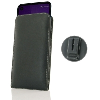 Leather Vertical Pouch Belt Clip Case for Motorola One Vision