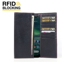 Continental Leather RFID Blocking Wallet Case for Nokia 2.3 (Black Pebble Leather/Red Stitch)