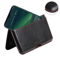 Leather Wallet Pouch for Nokia 2.3 (Red Stitch)