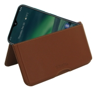 Leather Wallet Pouch for Nokia 2.3 (Brown)