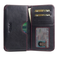 Leather Card Wallet for Nokia 2.3 (Red Stitch)