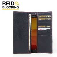 Continental Leather RFID Blocking Wallet Case for Nokia C1 (Black Pebble Leather/Red Stitch)