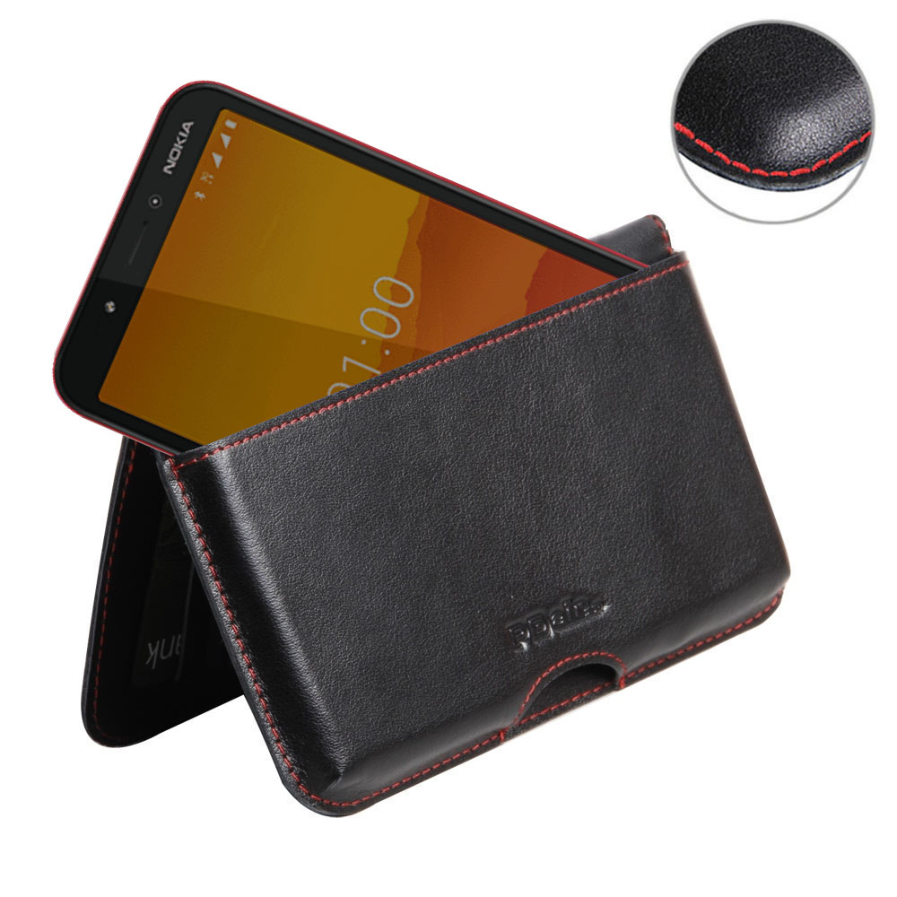 10% OFF + FREE SHIPPING, Buy the BEST PDair Handcrafted Premium Protective Carrying Nokia C1 Leather Wallet Pouch Case (Red Stitch). Exquisitely designed engineered for Nokia C1.