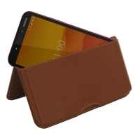 Leather Wallet Pouch for Nokia C1 (Brown)
