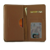 Leather Card Wallet for Nokia C1 (Brown)