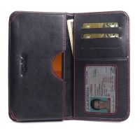 Leather Card Wallet for Nokia C1 (Red Stitch)