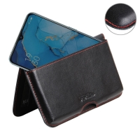 Leather Wallet Pouch for OPPO Reno3 (Red Stitch)