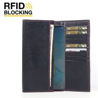 Continental Leather RFID Blocking Wallet Case for OPPO Reno3 Pro (Black Pebble Leather/Red Stitch)