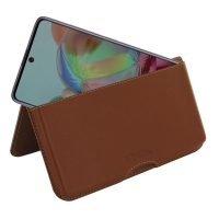 Leather Wallet Pouch for Samsung Galaxy A71 (Brown)