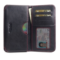 Leather Card Wallet for Samsung Galaxy A71 (Red Stitch)
