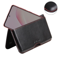 Leather Wallet Pouch for Samsung Galaxy Note 10 Lite (Red Stitch)