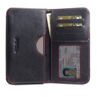 Leather Card Wallet for Samsung Galaxy Note 10 Lite (Red Stitch)