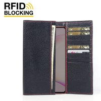 Continental Leather RFID Blocking Wallet Case for Samsung Galaxy Note 10 Lite (Black Pebble Leather/Red Stitch)