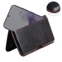 Leather Wallet Pouch for Samsung Galaxy S20 5G (in Slim Case/Cover) (Red Stitch)