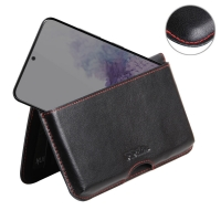 Leather Wallet Pouch for Samsung Galaxy S20 5G (Red Stitch)