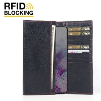 Continental Leather RFID Blocking Wallet Case for Samsung Galaxy S20 5G (Black Pebble Leather/Red Stitch)