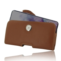 Leather Horizontal Pouch Case with Belt Clip for Samsung Galaxy S20 (in Slim Case/Cover) (Brown)