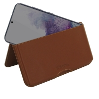 Leather Wallet Pouch for Samsung Galaxy S20 (in Slim Case/Cover) (Brown)