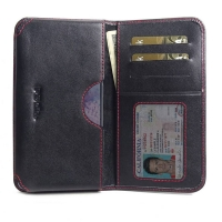 Leather Card Wallet for Samsung Galaxy S20 (in Slim Case/Cover) (Red Stitch)