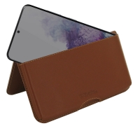 Leather Wallet Pouch for Samsung Galaxy S20 (Brown)