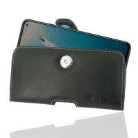 Leather Horizontal Pouch Case with Belt Clip for ViVO V17 (India)