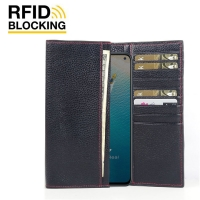 Continental Leather RFID Blocking Wallet Case for ViVO V17 (India) (Black Pebble Leather/Red Stitch)