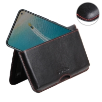 Leather Wallet Pouch for ViVO V17 (India) (Red Stitch)