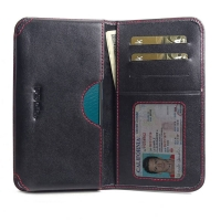 Leather Card Wallet for ViVO V17 (India) (Red Stitch)