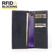 Continental Leather RFID Blocking Wallet Case for Xiaomi Redmi K30 5G (Black Pebble Leather/Red Stitch)