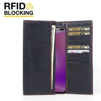 Continental Leather RFID Blocking Wallet Case for Xiaomi Redmi K30 (Black Pebble Leather/Red Stitch)