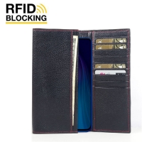 Continental Leather RFID Blocking Wallet Case for Xiaomi Redmi Note 8T (Black Pebble Leather/Red Stitch)
